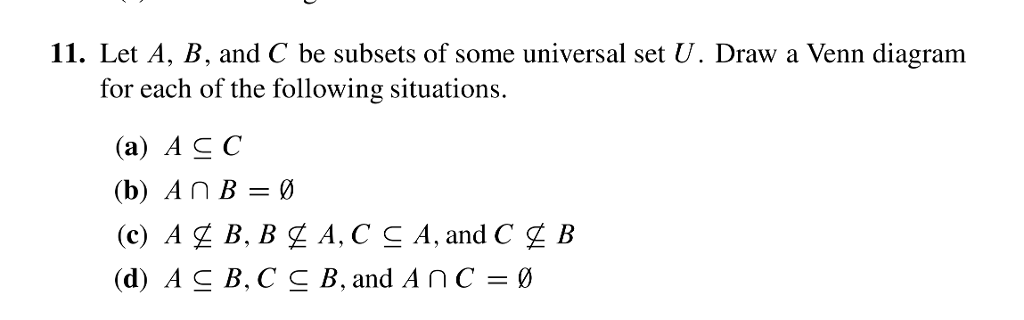 11 Let A B And C Be Subsets Of Some Universal S Chegg