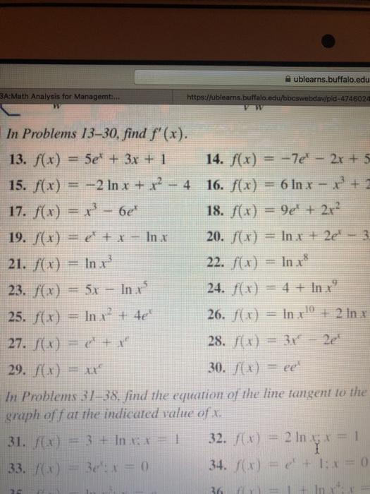 Solved: Ublearns buffalo edu A:Math Analysis For Managem H