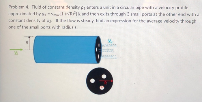 Problem 4. Fluid of constant density ρ enters a unit in a circular pipe with a velocity profile approximated by v1 Vmaxl1-(r/R)3] k and then exits through 3 small ports at the other end with a constant density of P2. If the flow is steady, find an expression for the average velocity through one of the small ports with radius s V.