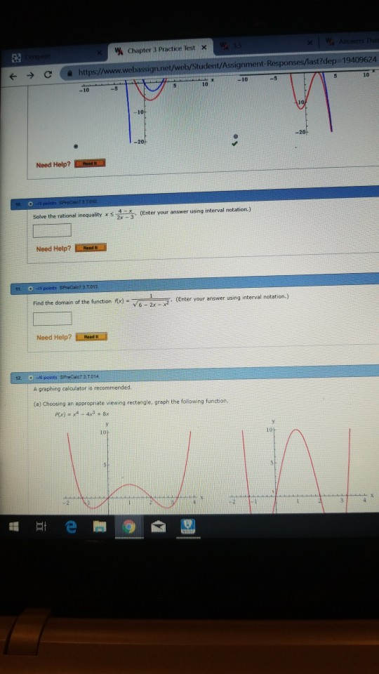 Rational Functions Practice Test