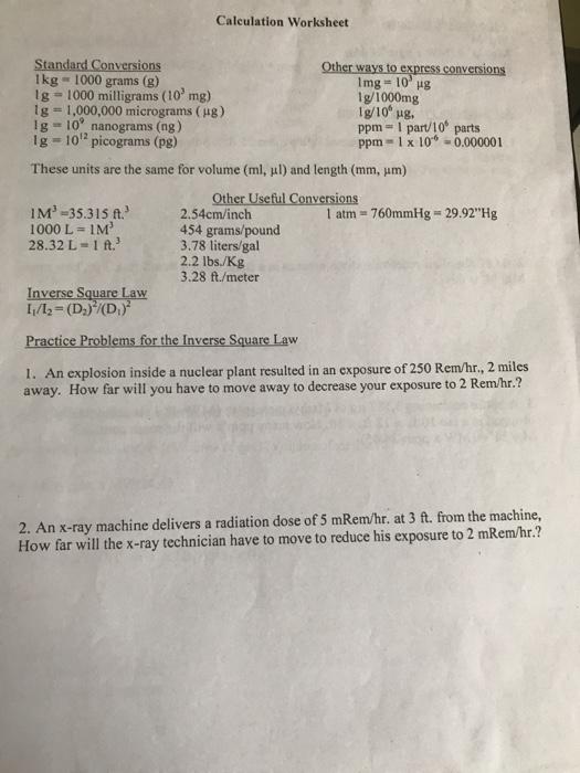 Solved: Calculation Worksheet Lkg 1000 Grams (g) 1g -1000 ...