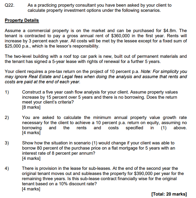 Sub Lease A Car >> Q22 As A Practicing Property Consultant You Have B