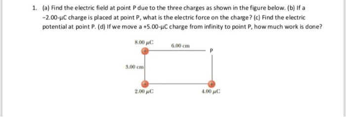 (a) Find the electric field at point P due to the three charges as shown in the figure below. (b) If a -2.00-uC charge is pla