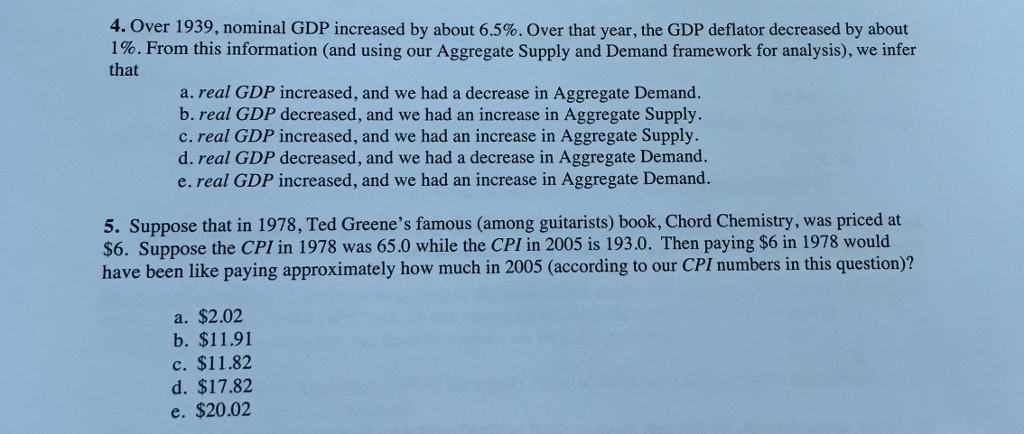 Solved 4 Over 1939 Nominal Gdp Increased By About 65