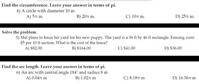 Solved: Find The Circumference  Leave Your Answer In Terms
