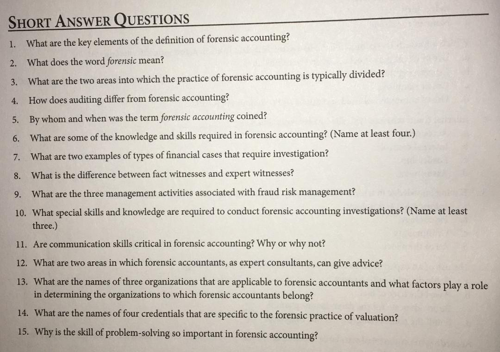Solved: SHORT ANSWER QUESTIONS 1  What Are The Key Element