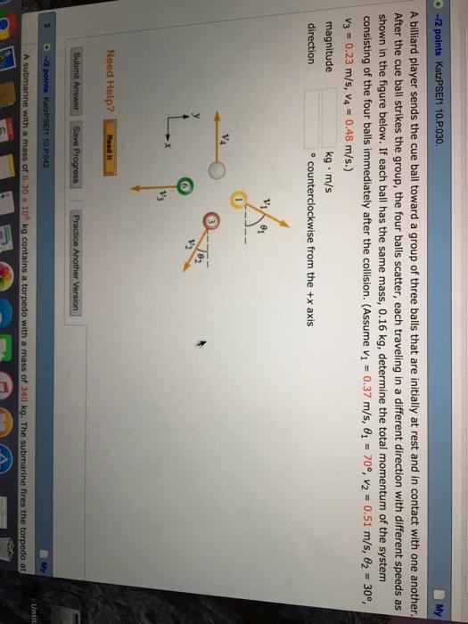 Solved: O -12 Points KatzPSEf1 10 P 030 My A Billiard Play