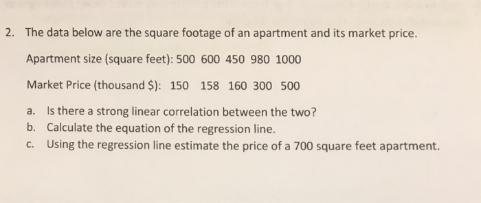 The Data Below Are Square Footage Of An Apartment And Its Market Price