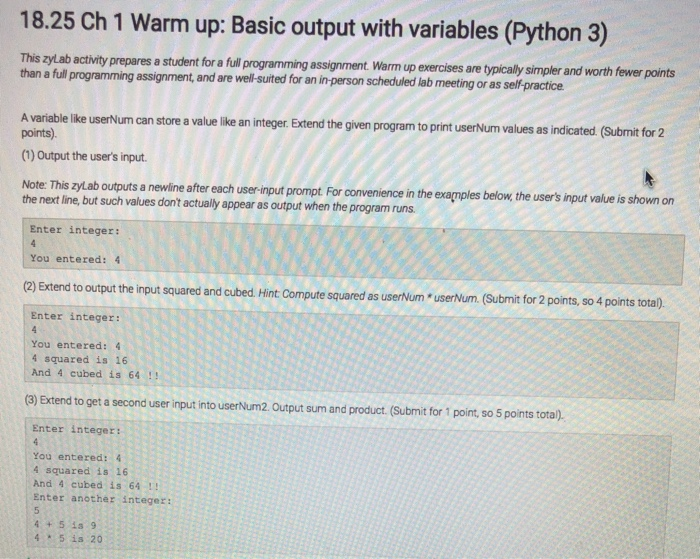 Solved: 18 25 Ch 1 Warm Up: Basic Output With Variables (P