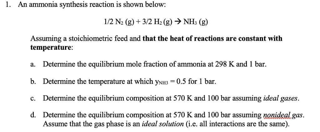 1  An Ammonia Synthesis Reaction Is Shown Below: 1