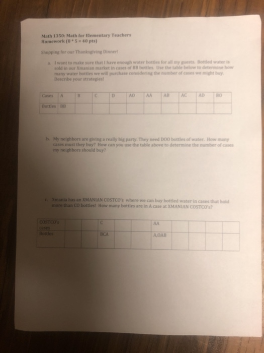 Math 1350: Math For Elementary Teachers Homework(8