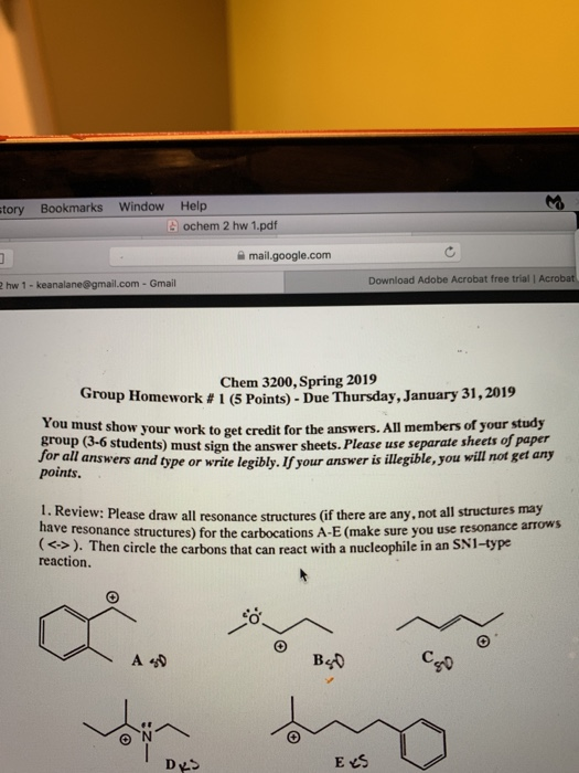 Solved: Tory Bookmarks Window Help Ochem 2 Hw 1 pdf Mail g