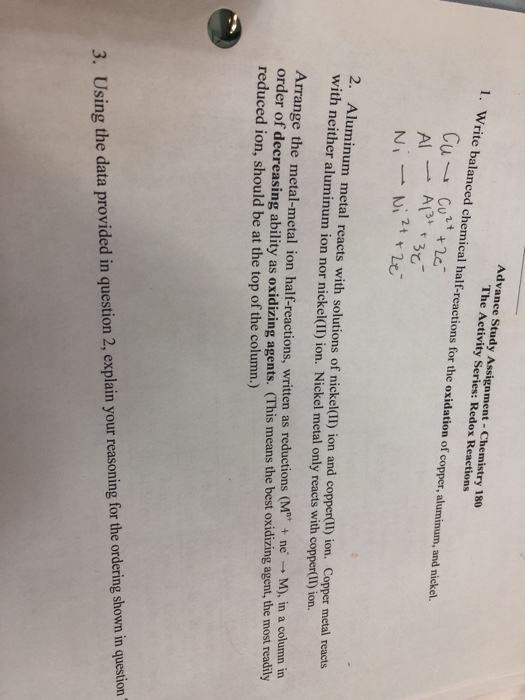 Solved: Advance Study Assignment- Chemistry 180 The Activi...   Chegg.com