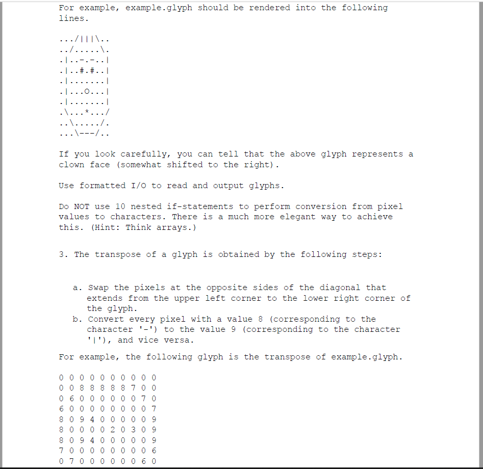 Solved: CS Preview A Glyph Is A 10 X 10 Matrix Of Pixels