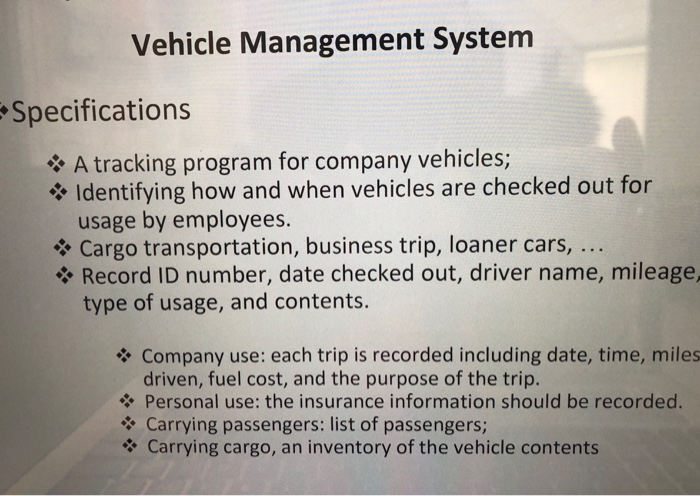 Solved Vehicle Management System Specifications A Trackin Chegg Com