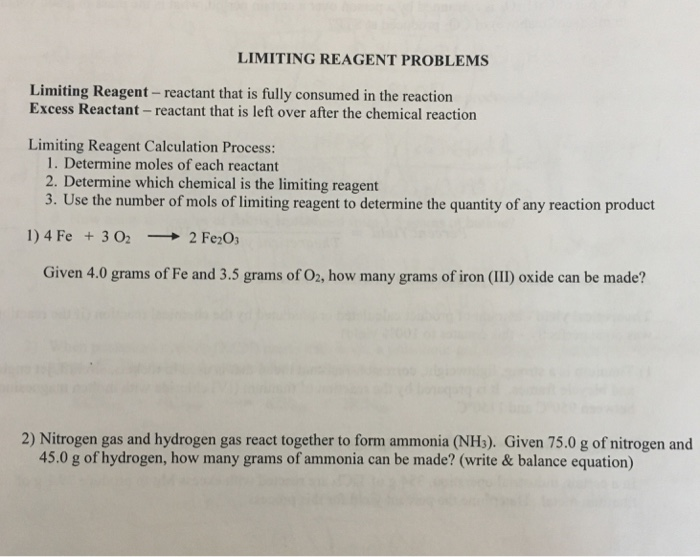 Solved: Limiting Reagent - Reactant That Is Fully Consumed ...