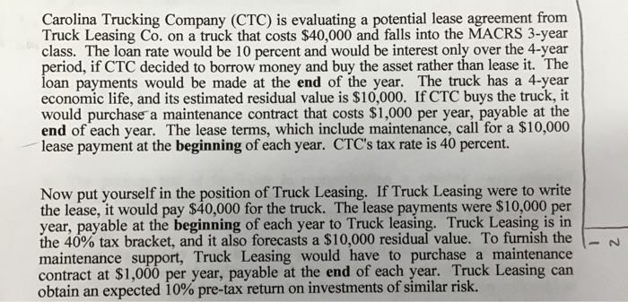 Solved Carolina Trucking Company Ctc Is Evaluating A Po