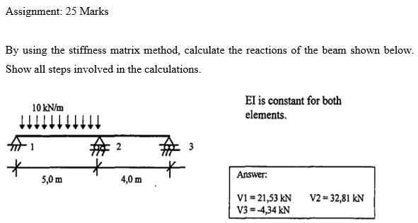 Solved: Assignment: 25 Marks By Using The Stiffness Matrix