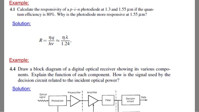 Solved: Calculate The Responsivity Of A P-i-n Photodiode A