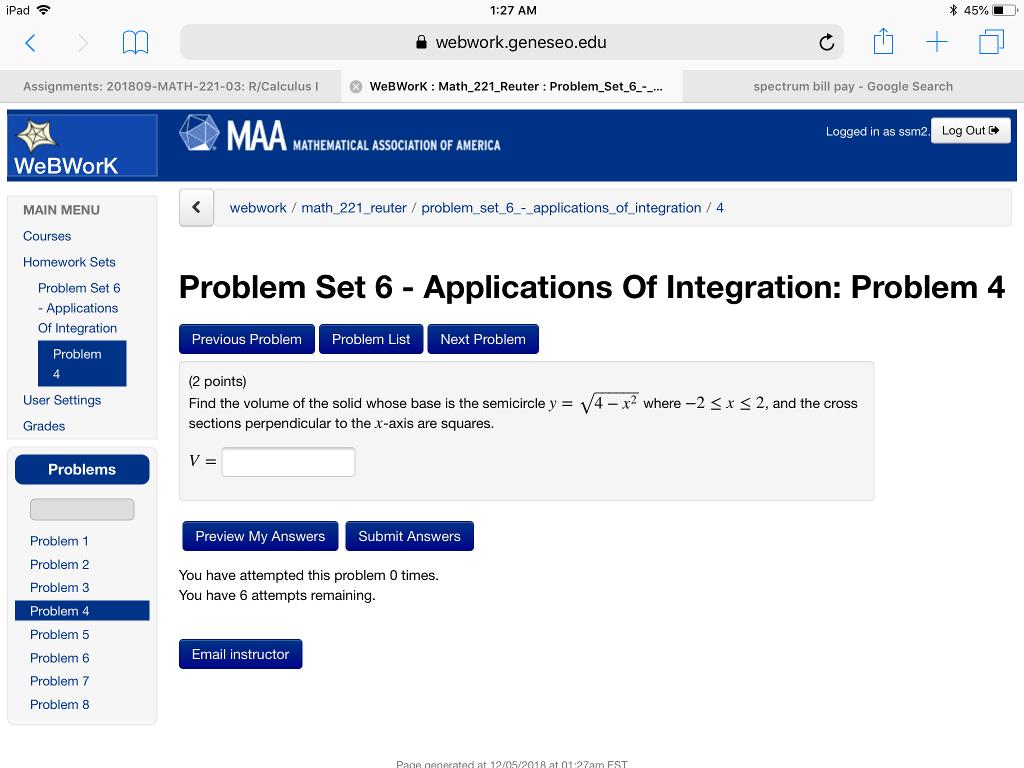 Solved: Pad 1:27 AM * 45% A Webwork geneseo edu Assignment