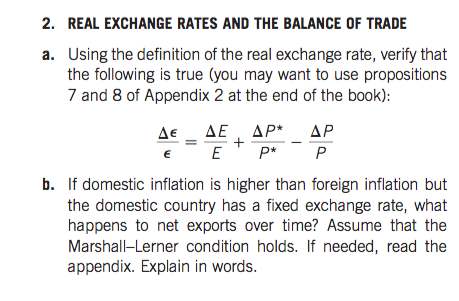 Real Exchange Rates And The Balance Of Trade Using Definition