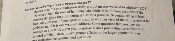 Solved Are You A Procrastinator By Leticia Gomez In This  Mediafafaaadadab