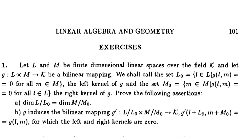 LINEAR ALGEBRA AND GEOMETRY 101 EXERCISES 1  Let L