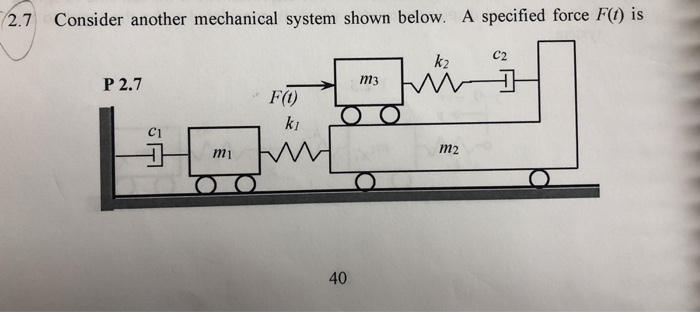 2.7 Consider another mechanical system shown below. A specified force F) is C2 k2 m3 P 2.7 FO ki m2 m1 40