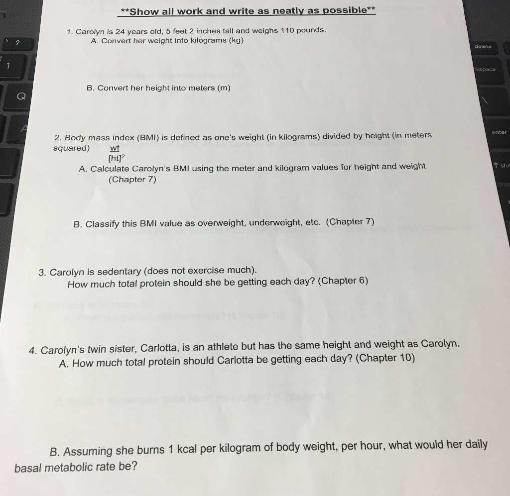 Solved: Show All Work Please  Please Answer All Question