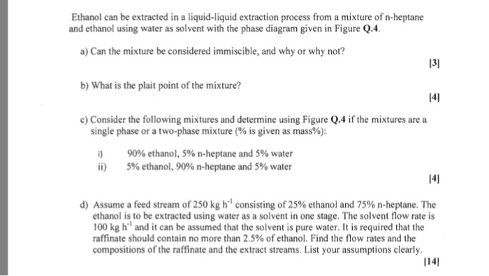 Solved Ethanol Can Be Extracted In A Liquid Liquid Extrac Chegg Com