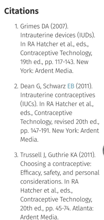 citations 1 grimes da 2007 intrauterine devices iuds n ple ase convert to apa american psychological association format