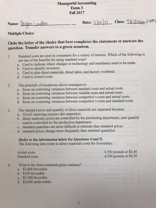 Mcgraw Hill Connect Managerial Accounting Test Answers