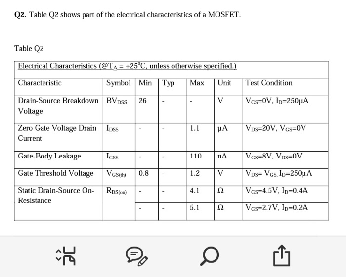 Solved: Q2  Table Q2 Shows Part Of The Electrical Characte