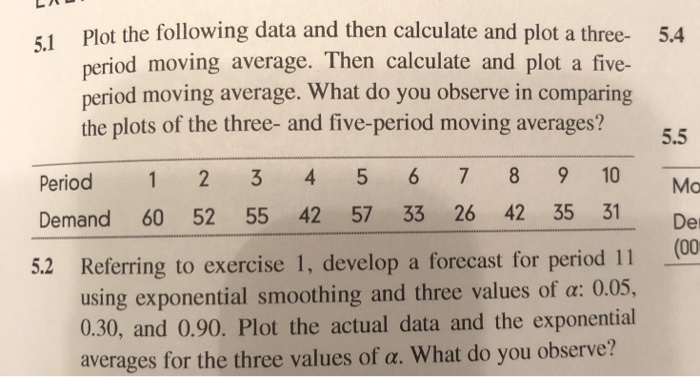 51 Plot the following data and then calculate and plot a three- 5.4 period moving average. Then calculate and plot a five- period moving average. What do you observe in comparing the plots of the three- and five-period moving averages? 5.5 Period 1 2 3 4 5 6 7 89 10 Mo Demand 60 52 55 42 57 33 26 42 35 31 D Der (00 5.2 Referring to exercise 1, develop a forecast for period 11 using exponential smoothing and three values of a: 0.0, 0.30, and 0.90. Plot the actual data and the exponential averages for the three values of a. What do you observe?