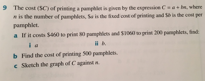 solved 9 the cost c of printing a pamphlet is given by