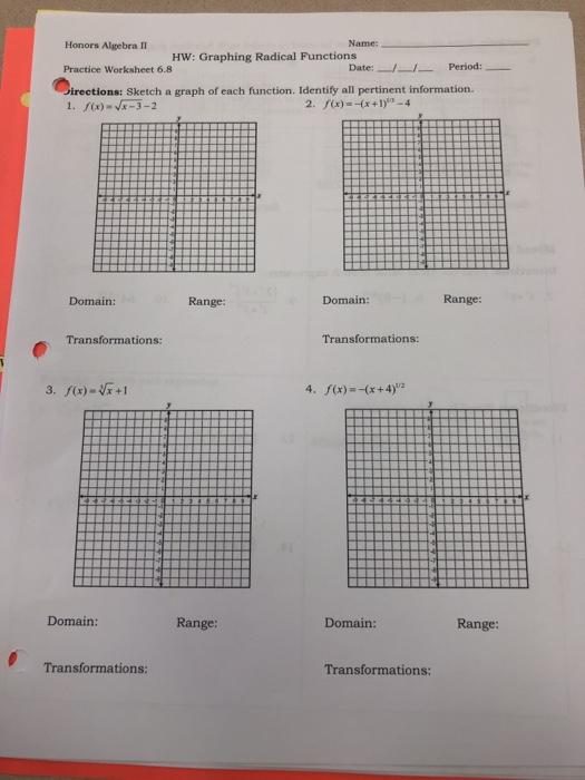 Solved: Honors Algebra II Name: HW: Graphing Radical Funct ...
