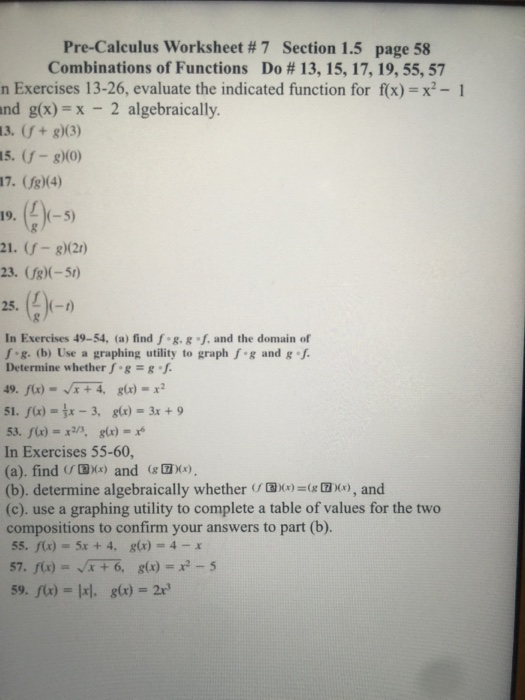 Solved Pre Calculus Worksheet 7 Section 15 Page 58 Com