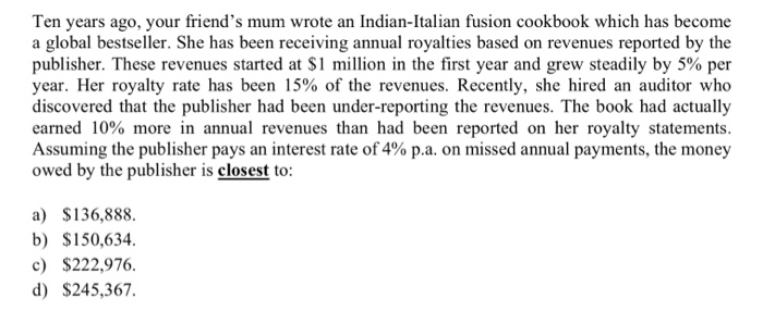 Ten years ago, your friends mum wrote an Indian-Italian fusion cookbook which has become a global bestseller. She has been r