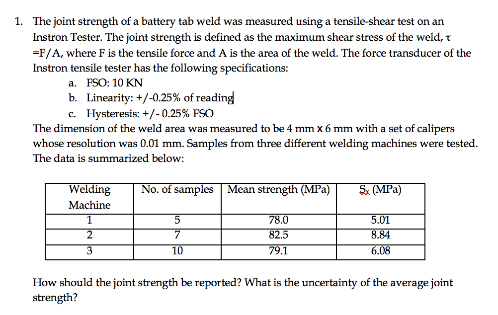 The Joint Strength Of A Battery Tab Weld Was Measu