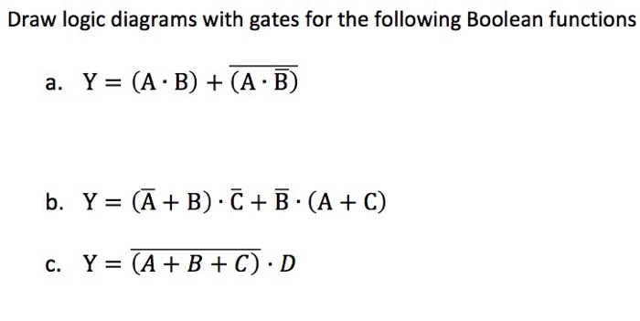 Solved: Draw Logic Diagrams With Gates For The Following B ...