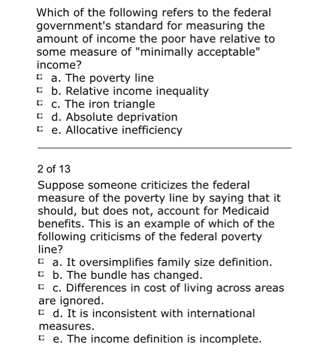 Solved Which Of The Following Refers To The Federal Gover
