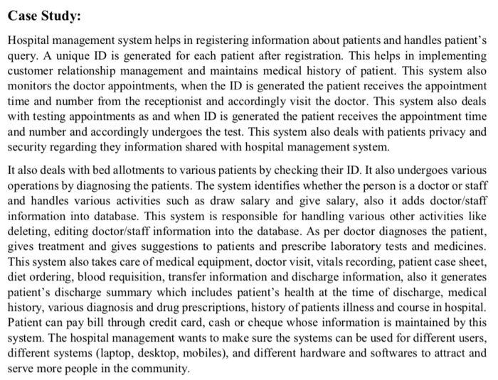 Solved: Case Study: Hospital Management System Helps In Re