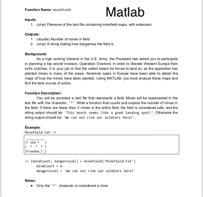 Solved: Matlab Function Name: Minefield Inputs 1  (char) F