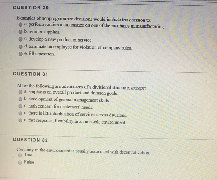 Solved: QUESTION 30 Examples Of Nomprogrammed Decisions Wo ...