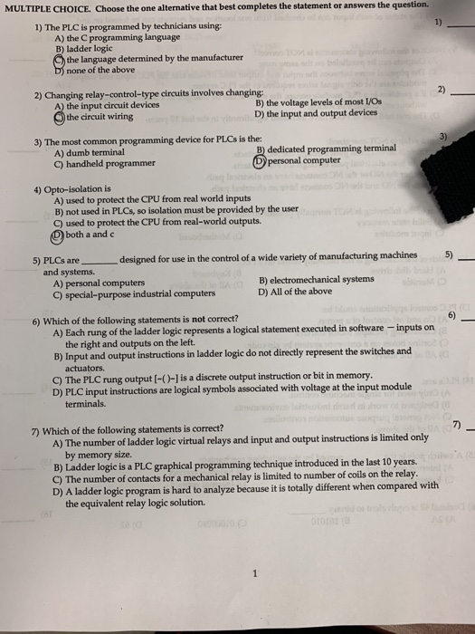 Solved: MULTIPLE CHOICE  Choose The One Alternative That B