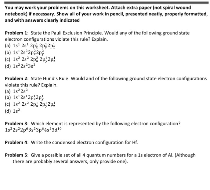 Solved: You May Work Your Problems On This Worksheet. Atta ...