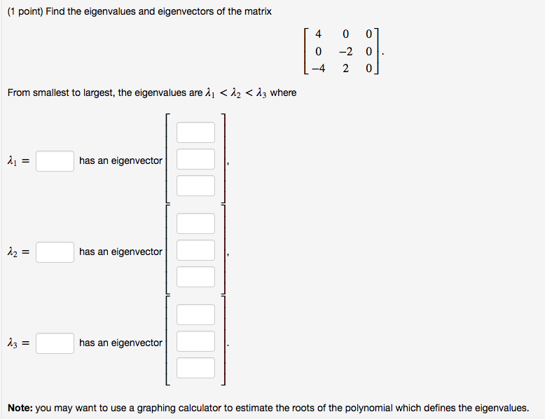 Solved: (1 Point) Find The Eigenvalues And Eigenvectors Of