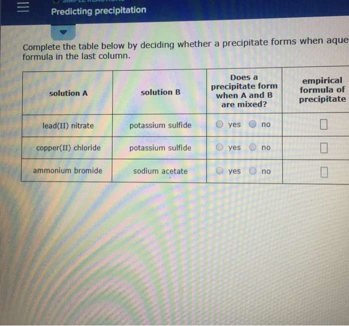 Solved: Predicting Precipitation Complete The Table Below ...