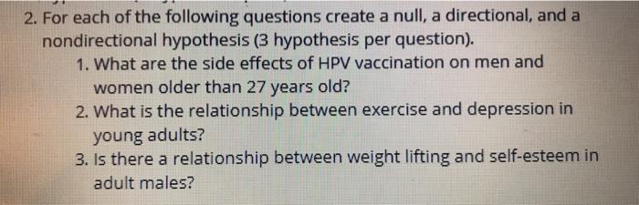non directional hypothesis