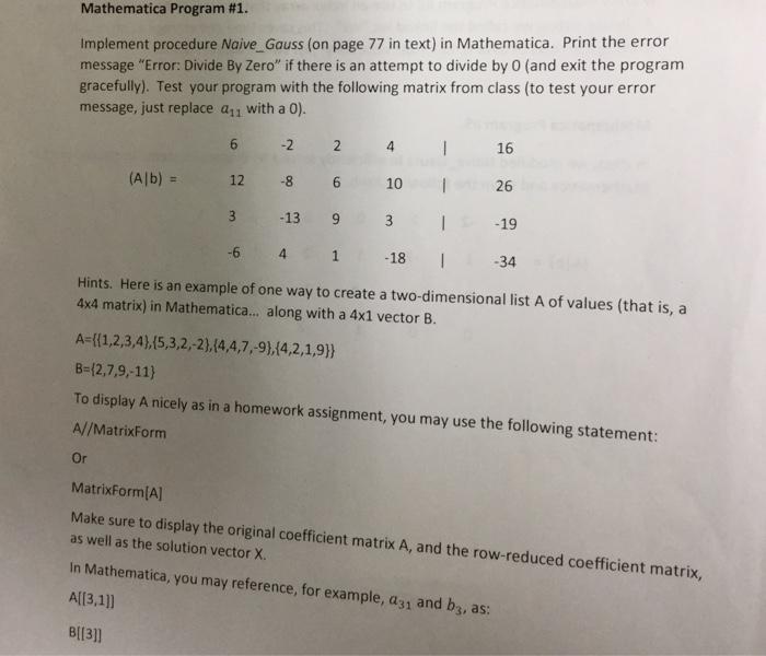 Mathematica Program #1  Implement Procedure Naive_    | Chegg com
